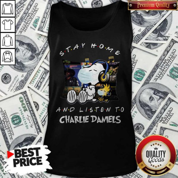 Cute Snoopy Face Mask Stay Home And Listen To Charlie Daniels Tank Top