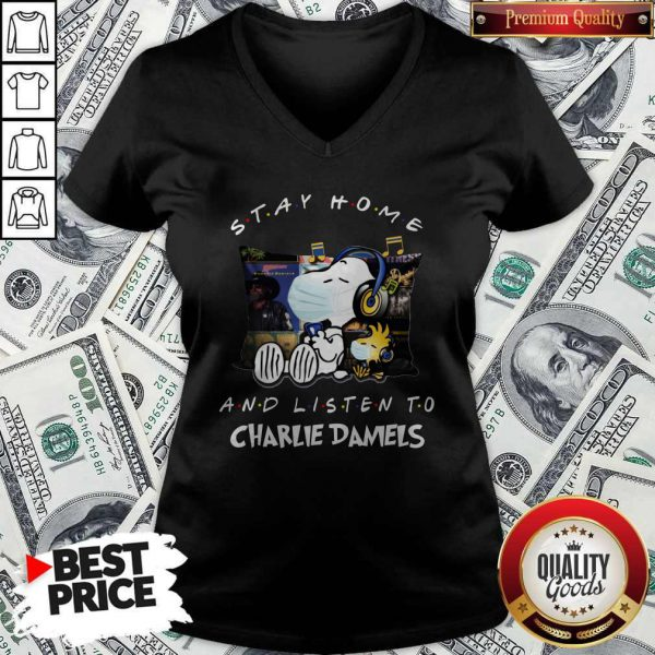 Cute Snoopy Face Mask Stay Home And Listen To Charlie Daniels V-neck