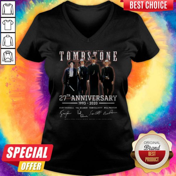 Cute Tombstone 27th Anniversary 1993 2020 Signature Thank You For The Memories V-neck
