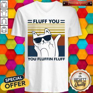 Hot Cat Glasses Fluff You You Fluffin Fluff Vintage V-neck