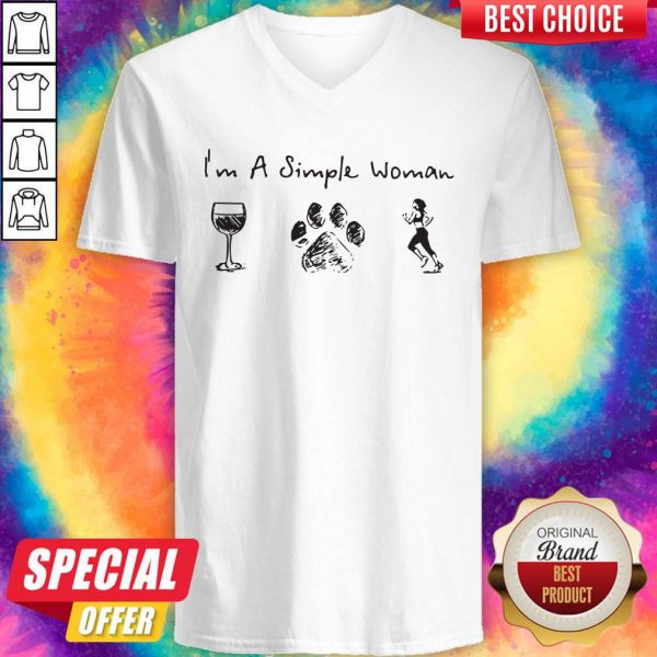 Never I'm A Simple Woman Wine Dog Paw And Running V-neck