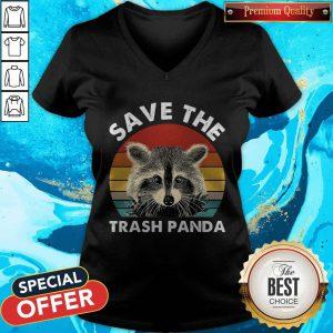 Nice Raccoon Save The Trash Panda Vintage Retro V-neck