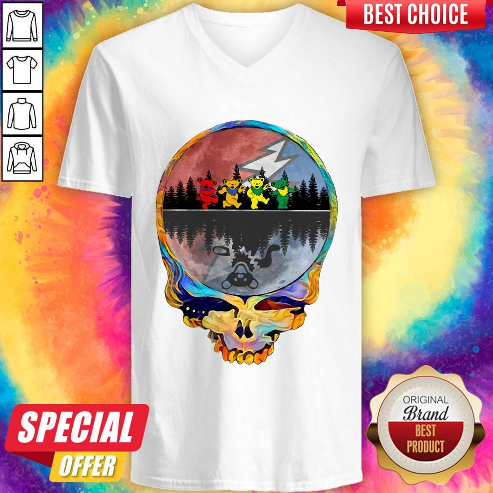 Pretty Grateful Dead Bear Skull Tee Halloween V-neck