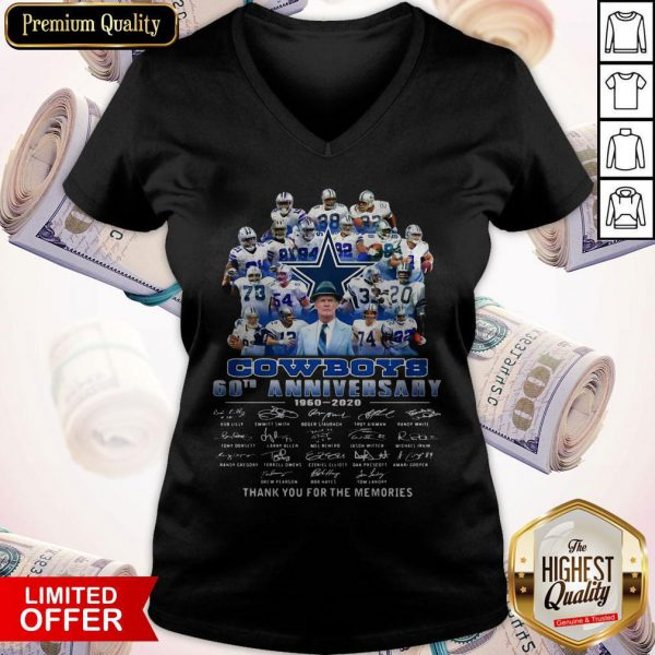 Pro Dallas Cowboys Football Team 60th Anniversary 1960 2020 Thank You For The Memories Signatures V-neck