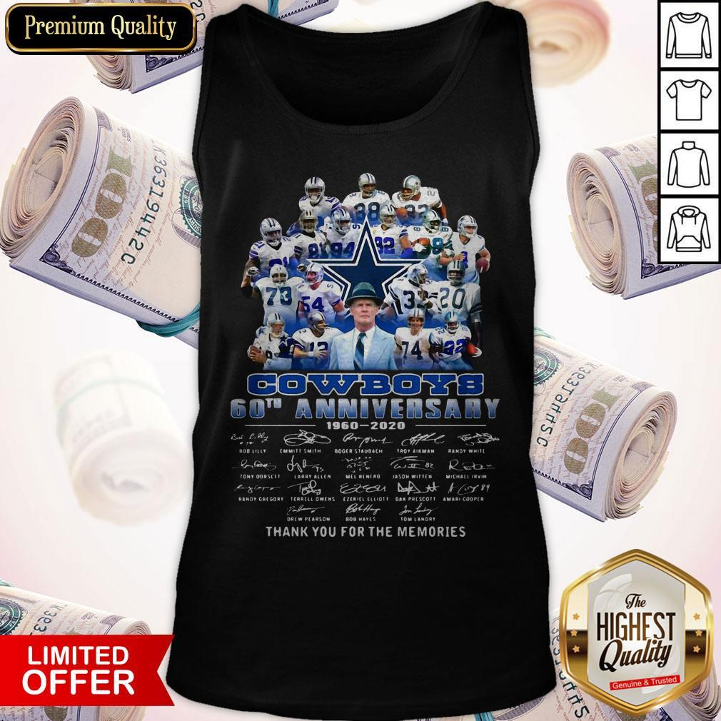 Pro Dallas Cowboys Football Team 60th Anniversary 1960 2020 Thank You For The Memories Signatures Tank Top