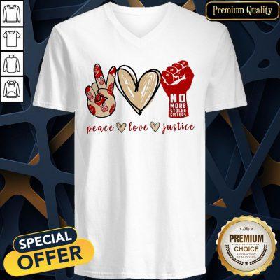 Attractive No More Stolen Sisters Peace Love Justice V-neck
