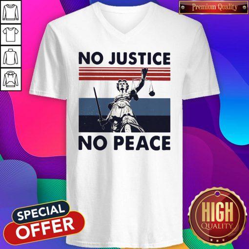 Beautiful No Justice No Peace Vintage Retro V-neck