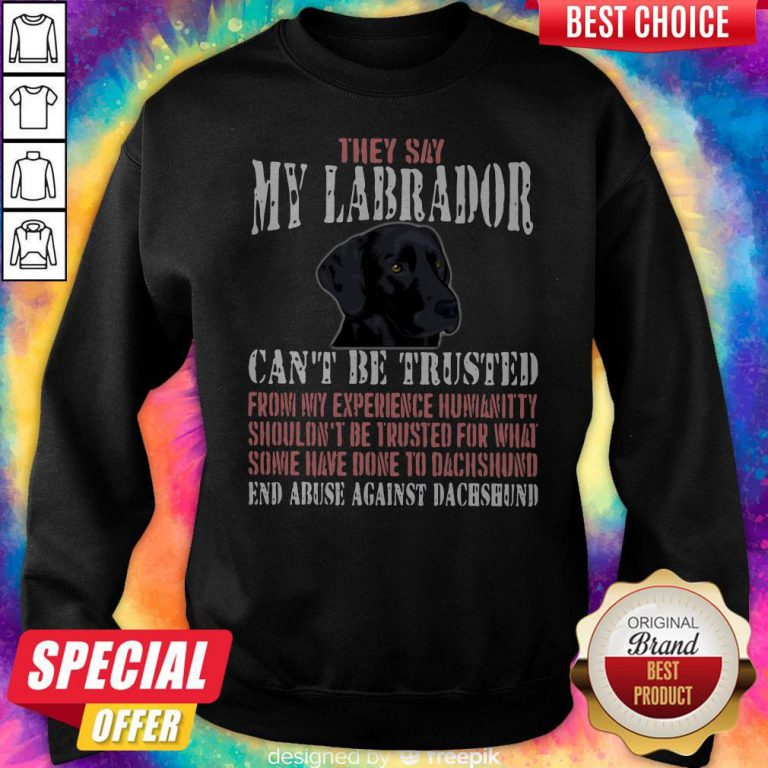 Cute They Say My Labrador Can't Be Trusted From My Experience Humanity Shouldn't Be Trusted For What Some Have Done To Labrador End Abuse Against Dachshund Sweatshirt