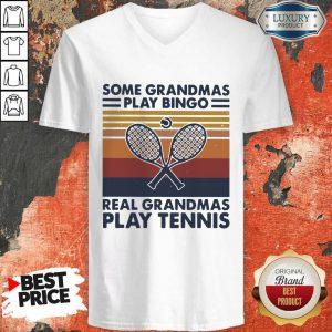 Hot Some Grandmas Play Bingo Real Grandmas Play Tennis Vintage Retro V-neck