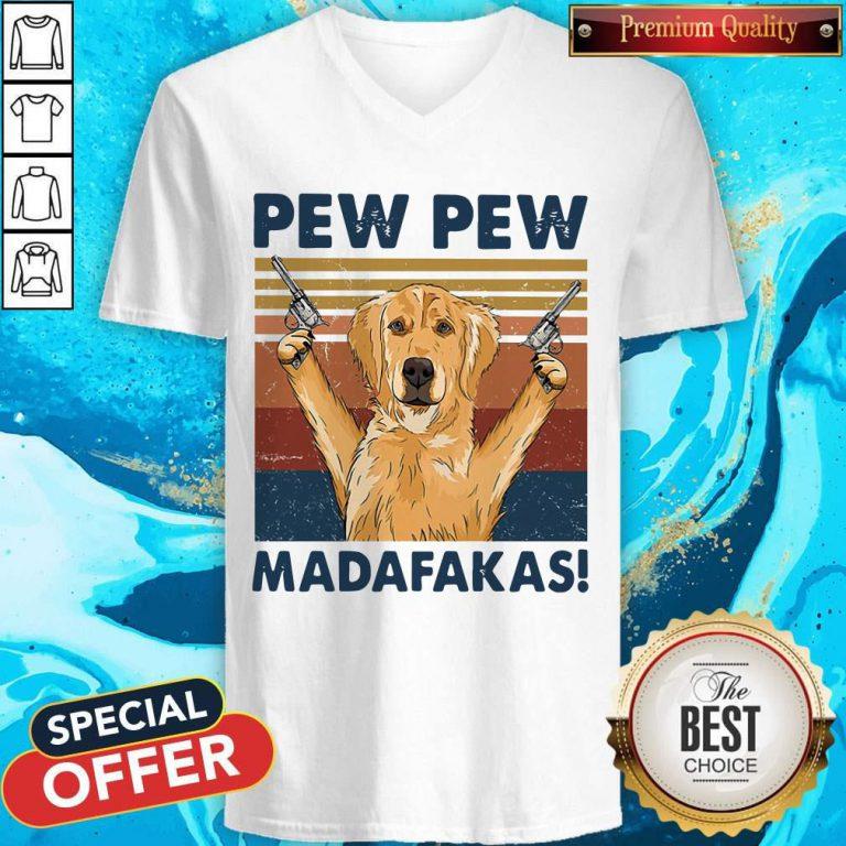 Lovely Golden Retriever Pew Pew Madafakas Vintage V-neck