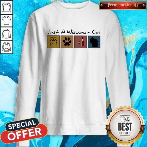 Lovely Just A Wisconsin Girl Flip Flop Dog Wine Wisconsin Map Sweatshirt