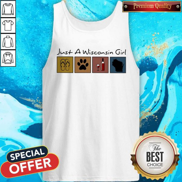 Lovely Just A Wisconsin Girl Flip Flop Dog Wine Wisconsin Map Tank Top