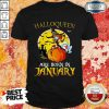 Nice Halloqueen Are Born In January Ghost Witch Mask Shirt