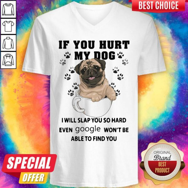 Nice If You Hurt My Dog I Will Slap You So Hard Even Google Wont Be Able To Find You Dog V-neck