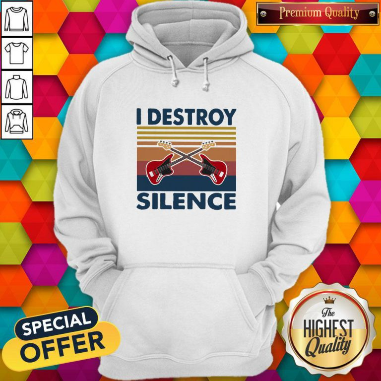 Official Bass Guitar I Destroy Silence Vintage Retro Hoodie