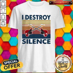 Official Bass Guitar I Destroy Silence Vintage Retro Shirt