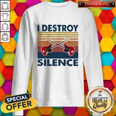 Official Bass Guitar I Destroy Silence Vintage Retro Sweatshirt