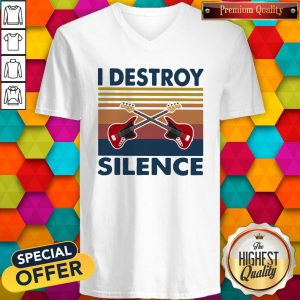 Official Bass Guitar I Destroy Silence Vintage Retro V-neck