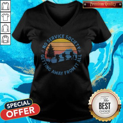 Pretty No Service Society Getting Away From It All Vintage V-neck