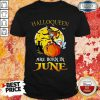 Top Halloqueen Are Born In June Ghost Witch Mask Shirt