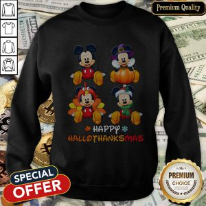 Awesome Mickey Mouse Happy Hallothanksmas SweatShirt