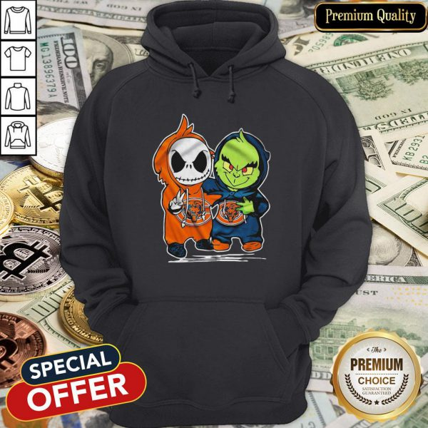 Baby Skeleton And Baby Grinch Chicago Bears Hoodie