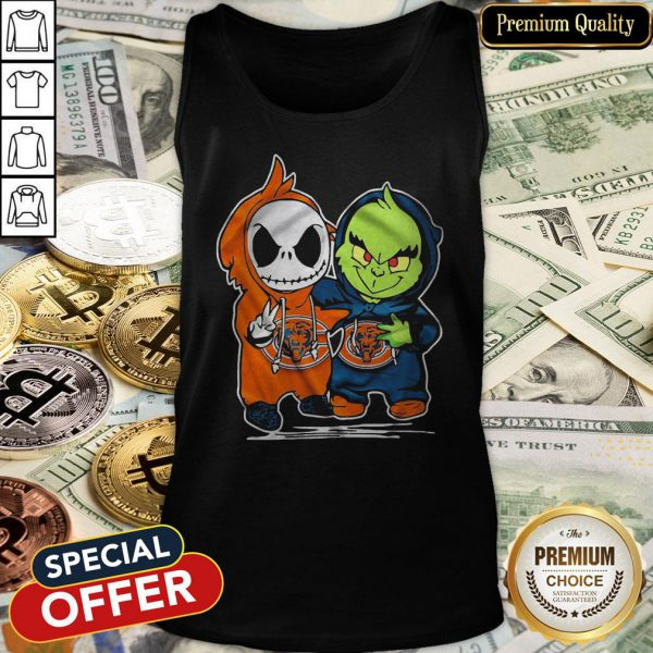 Baby Skeleton And Baby Grinch Chicago Bears Tank Top