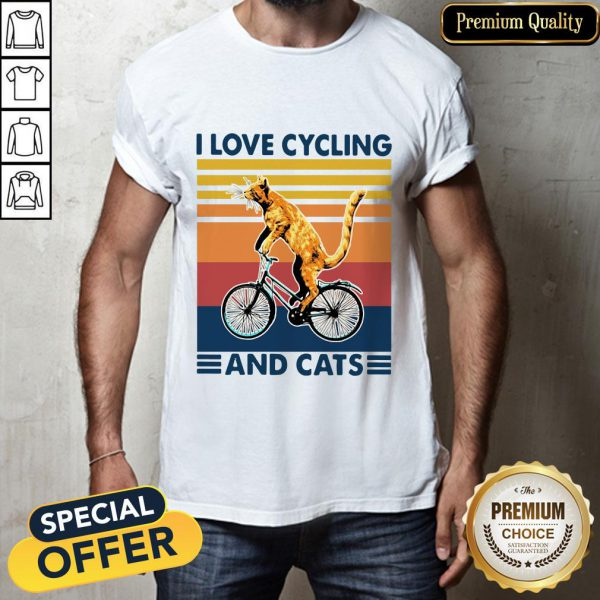 Bicycle I Love Cycling And Cats Vintage Shirt
