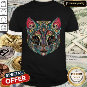 Cat Sugar Skull Day Of The Dead Halloween Shirt