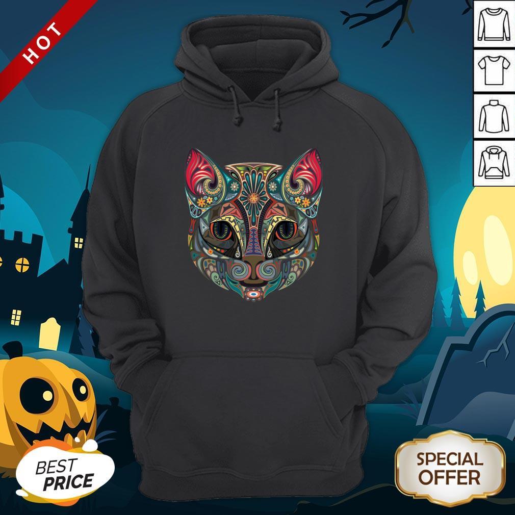 Cat Sugar Skull Dia De Los Muertos Day Dead Hoodie