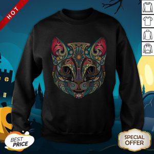 Cat Sugar Skull Dia De Los Muertos Day Dead SweatShirt
