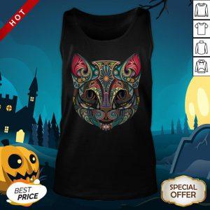 Cat Sugar Skull Dia De Los Muertos Day Dead Tank Top