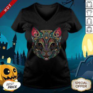 Cat Sugar Skull Dia De Los Muertos Day Dead V-neck