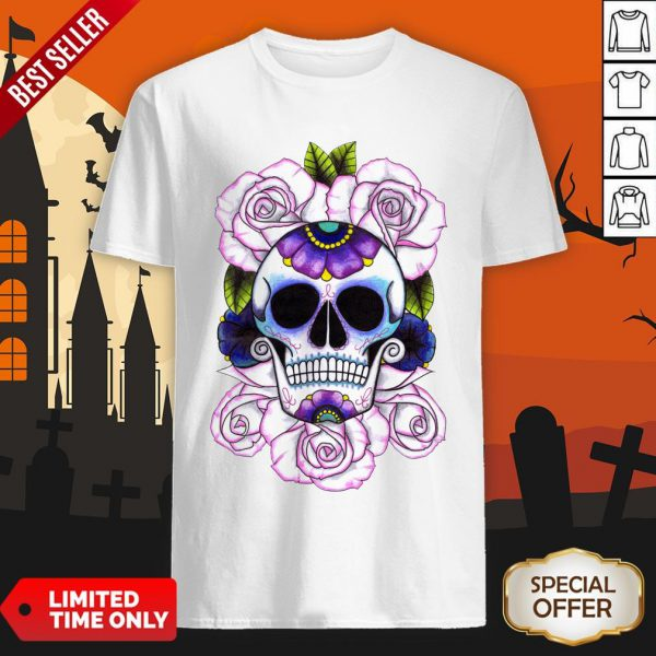 Day Of The Dead Blue And Purple Sugar Skulls Shirt
