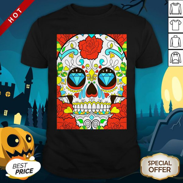 Day Of The Dead Rose Red Calavera Shirt