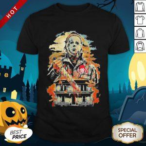 Halloween Michael Myers Holding Knife Fire Wendy's Shirt