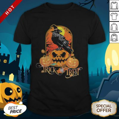 Halloween Raven Witch Trick Or Treat Pumpkins Shirt