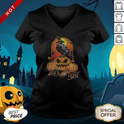 Halloween Raven Witch Trick Or Treat Pumpkins V-neck