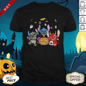 Halloween Stitch Bat And Pumpkin Shirt