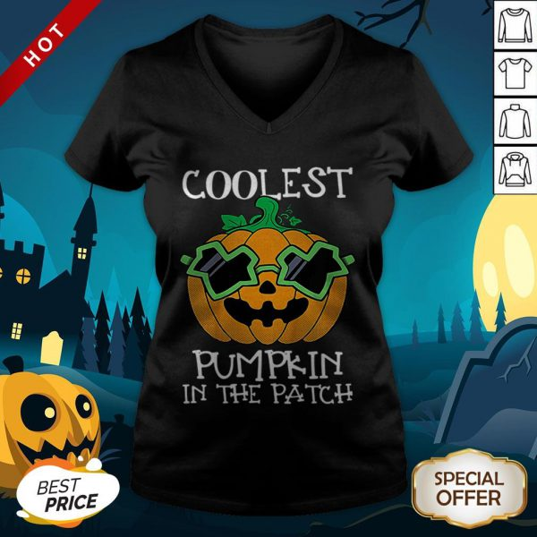Kids Coolest Pumpkin In The Patch Halloween Costume Boys Gift V-neck
