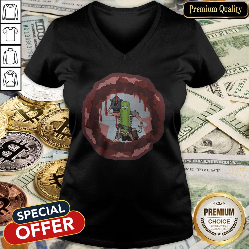 Rick And Morty Badass Pickle Rick Blow A Hole In The Chest V-neck
