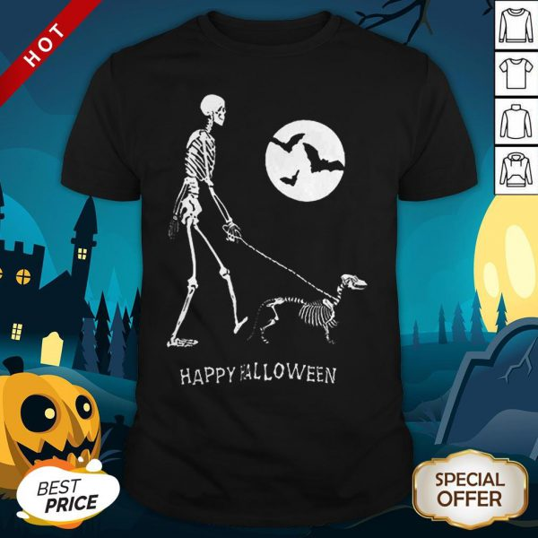 Skeleton Corgi Under Moon Light Happy Halloween Shirt