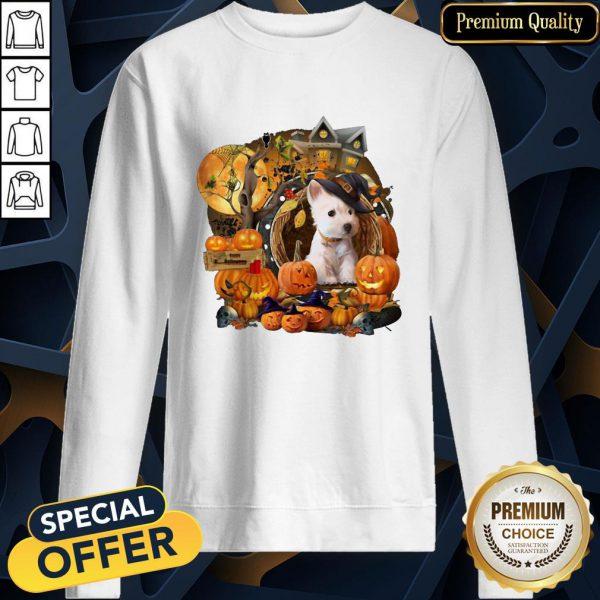 Terrier Puppy Witch Pumpkin Witch Halloween SweatShirt