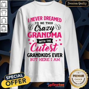 Awesome I Never Dreamed Id Be This Crazy Grandma With The Cutest Grandkids Ever But Here I Am Sweatshirt- Design By Refinetee.com
