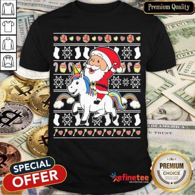 Awesome Santa Claus Riding Unicorn Christmas Shirt- Design By Refinetee.com