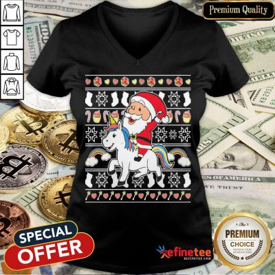 Awesome Santa Claus Riding Unicorn Christmas V-neck- Design By Refinetee.com