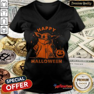 Baby Yoda Star Wars The Mandalorian The Child Happy Halloween V-neck