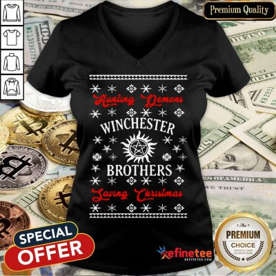 Funny Hunting Demons Winchester Brothers Saving Christmas V-neck- Design By Refinetee.com