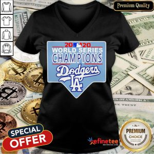 Funny Team LA Dodgers 2020 World Series Champions V-neck - Design By Refinetee.com
