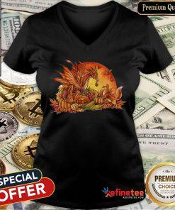 Halloween Pumpkin Dragon Fox Butterflies V-neck